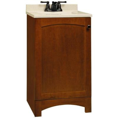 Melborn 18-1/2 in. W x 16-1/2 in. D Vanity in Chestnut with Solid Surface Technology Vanity Top in Wheat