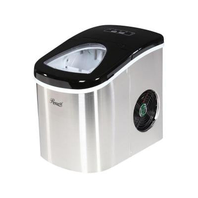 Stainless Steel Silver and Black 26.5 lbs. Portable Ice Maker