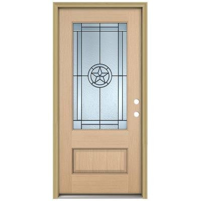 36 in. x 96 in. Lone Star 3/4 Lite Unfinished Hemlock Wood Prehung Front Door with Brickmould and Patina Caming