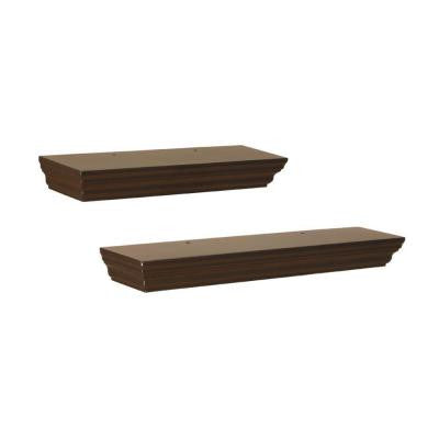 17.7 in. W x 3.90 in. D x 1.77 in. H Espresso Floating MDF Ledge (2-Piece)