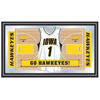 University of Iowa Basketball Jersey 15 in. x 26 in. Black Wood Framed Mirror