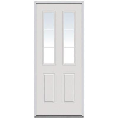 30 in. x 80 in. Classic Clear Glass 6 Lite 2-Panel GBG Primed White Steel Replacement Prehung Front Door