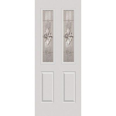 32 in. x 80 in. Heirloom Master Decorative Glass 2 Lite 2-Panel Primed White Fiberglass Smooth Prehung Front Door