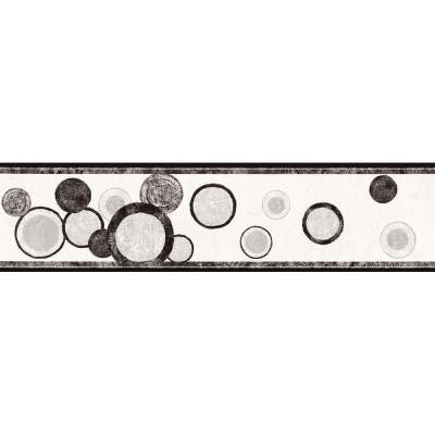6.75 in. x 15 ft. Black and Silver Contemporary Circles Border
