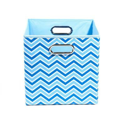 Sky 10.5 in. x 10.5 in. x 10.5 in. Zig Zag Folding Blue Fabric Storage Bin