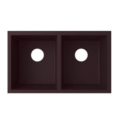Undermount Granite 21 in. Double Bowl Kitchen Sink in Espresso
