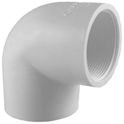 1 in. x 3/4 in. PVC Sch. 40 90-Degree S x FPT Reducer Elbow