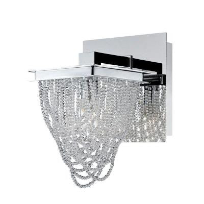 Rio Collection 1-Light Chrome and Clear Wall Sconce