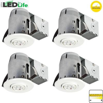 3 in. White LED IC Rated Swivel Spotlight Recessed Lighting Kit Dimmable Downlight (4-Pack)