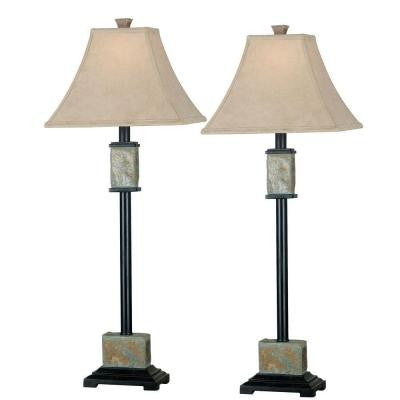 Bennington 32 in. Natural Slate Buffet Lamp Set (2-Pack)