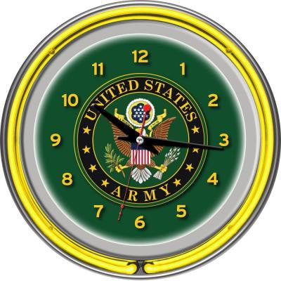 14 in. U.S. Army Symbol Chrome Double Ring Neon Wall Clock
