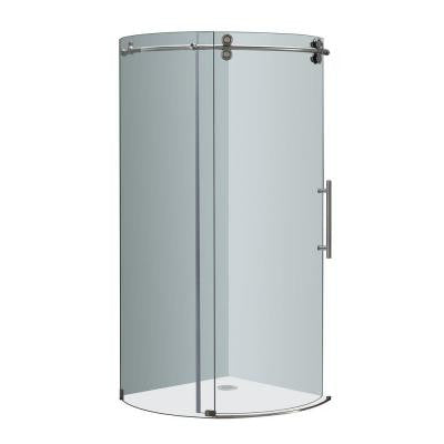 Orbitus 36 in. x 36 in. x 75 in. Completely Frameless Round Shower Enclosure in Stainless Steel with Right Opening