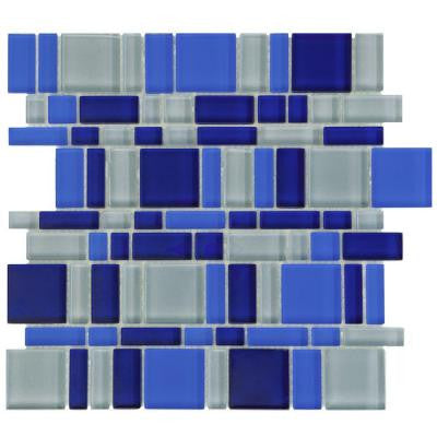 Tessera Magic Celeste 11-3/4 in. x 11-3/4 in. x 8 mm Glass Mosaic Wall Tile