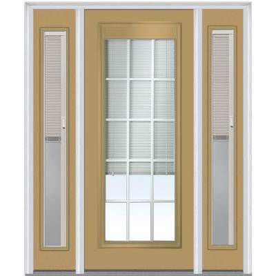 60 in. x 80 in. Classic Clear RLB GBG Low E Glass Full Lite Painted Majestic Steel Prehung Front Door with Sidelites