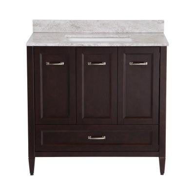 Claxby 36 in. Vanity in Chocolate with Stone Effect Vanity Top in Winter Mist