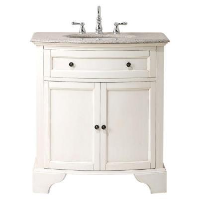 Hamilton 31 in. W x 22 in. D Vanity in White with Granite Vanity Top in Beige