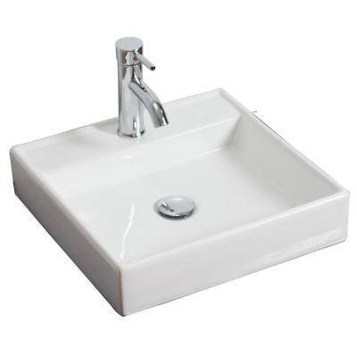 17.5-in. W x 17.5-in. D Above Counter Square Vessel Sink In White Color For Single Hole Faucet