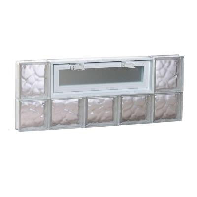 34.75 in. x 13.5 in. x 3.125 in. Wave Pattern Vented Glass Block Window