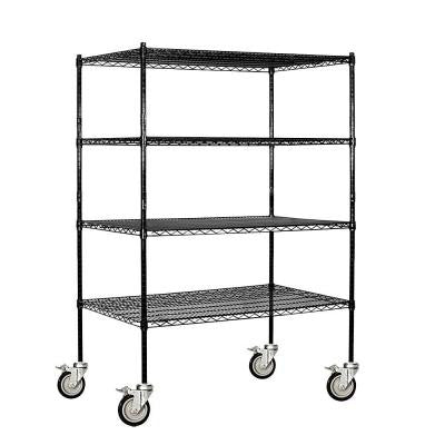 9500S Series 48 in. W x 69 in. H x 24 in. D Industrial Grade Welded Wire Mobile Wire Shelving in Black