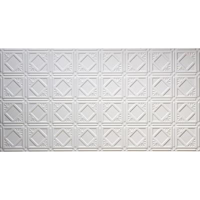 Dimensions Faux 2 ft. x 4 ft. Glue-up Tin Style White Ceiling Tile for Surface Mount