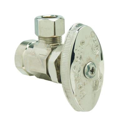 3/8 in. FIP Inlet x 3/8 in. O.D. Comp Outlet Multi-Turn Angle Valve in Polished Nickel