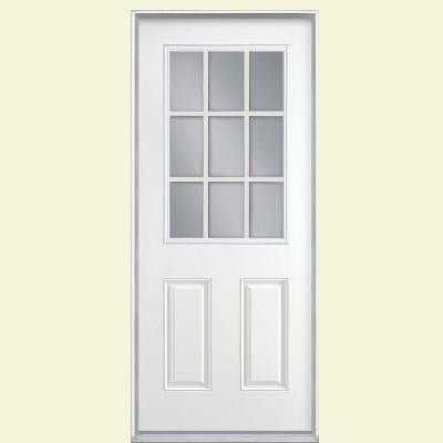 36 in. x 80 in. 9 Lite Primed Smooth Fiberglass Prehung Front Door with No Brickmold