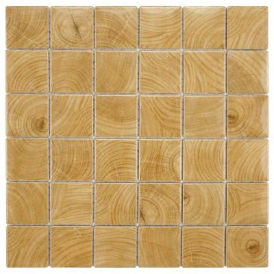 Clico Wood Beige 12 in. x 12 in. x 6 mm Porcelain Floor and Wall Mosaic Tile