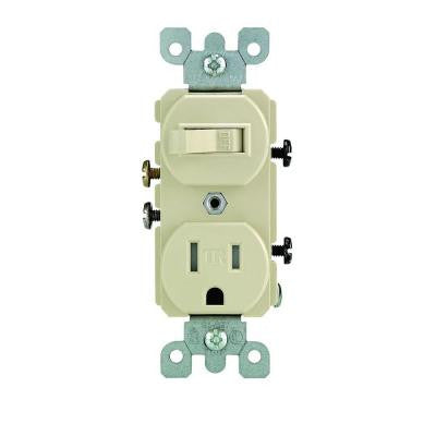 15 Amp Tamper-Resistant Combination Switch and Outlet - Ivory