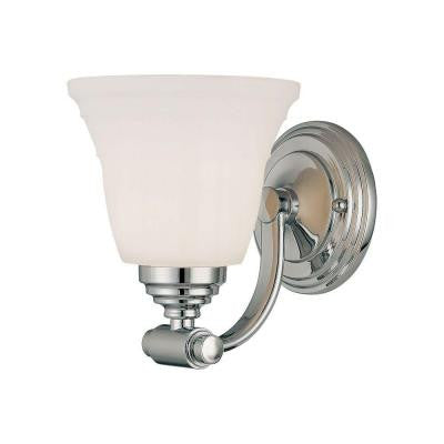1-Light Chrome Sconce with Faux Alabaster Glass