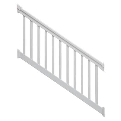 6 ft. x 42 in. 30-Degree to 35-Degree White Stair Rail Kit with Square Balusters