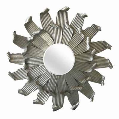35.5 in. Razored Metal Sunburst Framed Mirror