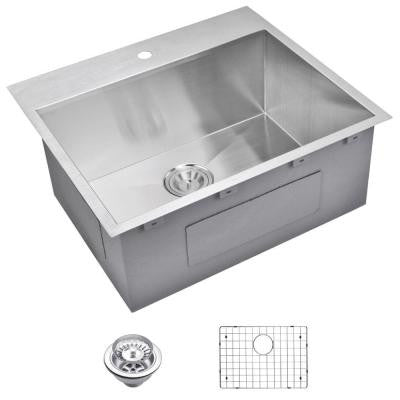 Top Mount Zero Radius Stainless Steel 25x22x10 1-Hole Single Bowl Kitchen Sink with Strainer and Grid in Satin Finish