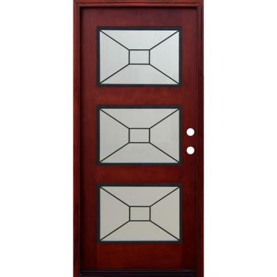 36 in. x 80 in. Contemporary 3 Lite Mistlite Stained Mohogany Wood Prehung Front Door with Grille