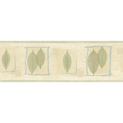 6.83 in. x 15 ft. Green and Blue Transitional Leaf Border