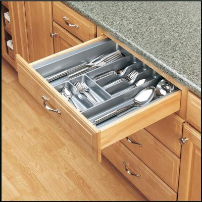 X-Large Polymer Cabinet Drawer Cutlery Tray Insert in Glossy Silver