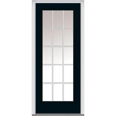 32 in. x 80 in. Classic Clear Glass GBG Full Lite Painted Majestic Steel Prehung Front Door