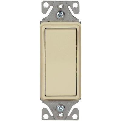 15 Amp 120/277-Volt Heavy-Duty Grade Single-Pole Decorator Lighted Switch with Back and Push Wire, Ivory