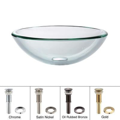 Vessel Sink in Clear Glass with Pop-Up Drain and Mounting Ring in Satin Nickel