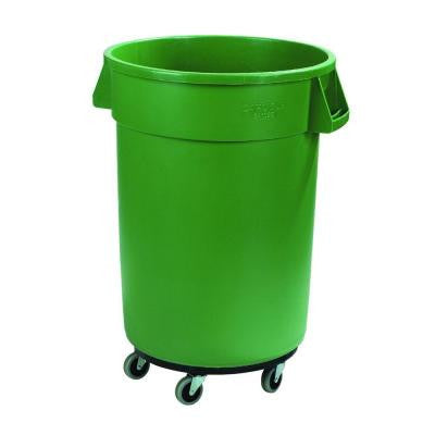 Bronco 44 Gal. Green Round Trash Can with Dolly (3-Pack)