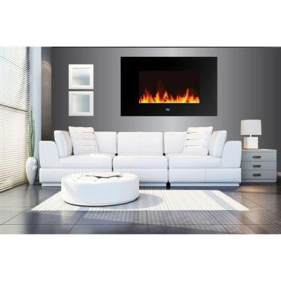 Venice 35 in. Wall-Mount LED Electric Fireplace with Digital Display and Remote Control