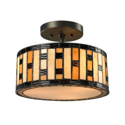 Cafe 3-Light Java Bronze Semi-Flush Mount Light