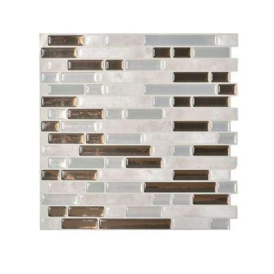 Grigio 10.00 in. x 10.06 in. Peel and Stick Mosaic Decorative Wall Tile Backsplash in Grey (12-Piece)