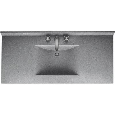 Contour 43 in. W x 22 in. D x 10-1/4 in. H Solid-Surface Vanity Top in Gray Granite with Gray Granite Basin