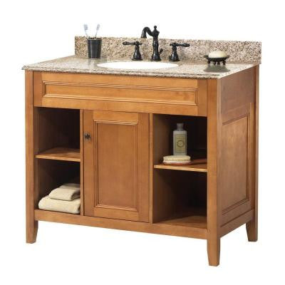 Exhibit 37 in. W x 22 in. D Vanity in Rich Cinnamon with Granite Vanity Top in Golden Hill with White Basin