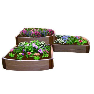 One Inch Series 98 in. x 98 in. x 22 in. Composite Split Waterfall Raised Garden Bed Kit