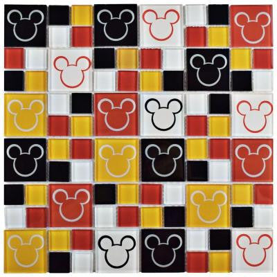 Mickey Multi 11-3/4 in. x 11-3/4 in. x 5 mm Glass Mosaic Tile