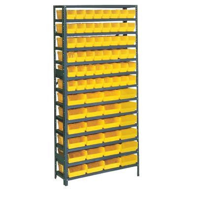 Plastic Bin/Small Parts Steel Gray Storage Rack with 72 Yellow Bins