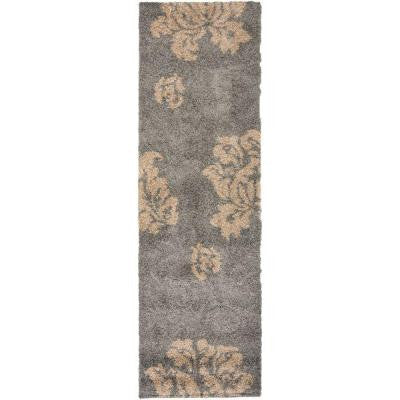 Florida Shag Grey/Beige 2 ft. 3 in. x 7 ft. Rug Runner