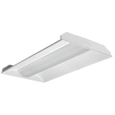 2 ft. x 4 ft. 2-Light White Volumetric T8 Fluorescent Troffer