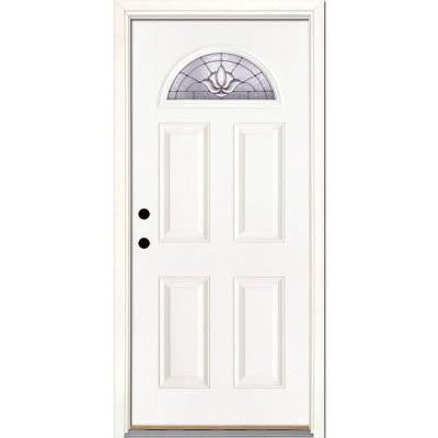 37.5 in. x 81.625 in. Medina Zinc Fan Lite Unfinished Smooth Fiberglass Prehung Front Door